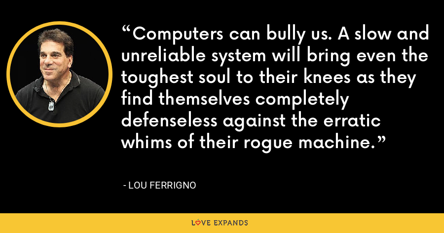 Computers can bully us. A slow and unreliable system will bring even the toughest soul to their knees as they find themselves completely defenseless against the erratic whims of their rogue machine. - Lou Ferrigno