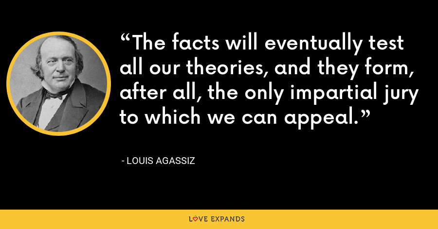 The facts will eventually test all our theories, and they form, after all, the only impartial jury to which we can appeal. - Louis Agassiz
