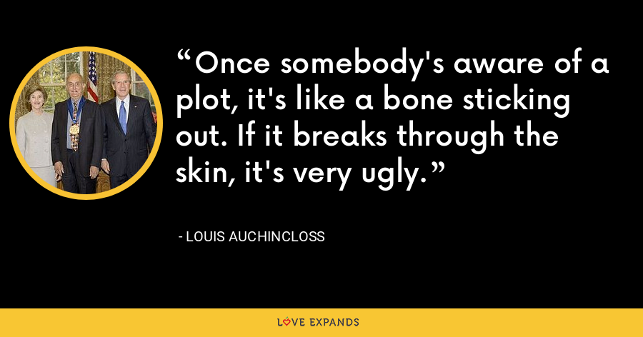 Once somebody's aware of a plot, it's like a bone sticking out. If it breaks through the skin, it's very ugly. - Louis Auchincloss