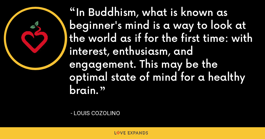 In Buddhism, what is known as beginner's mind is a way to look at the world as if for the first time: with interest, enthusiasm, and engagement. This may be the optimal state of mind for a healthy brain. - Louis Cozolino