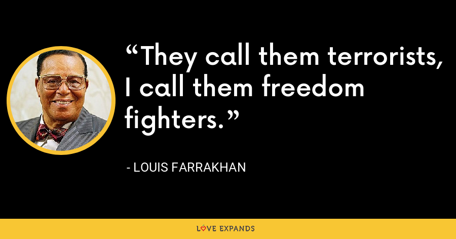 They call them terrorists, I call them freedom fighters. - Louis Farrakhan