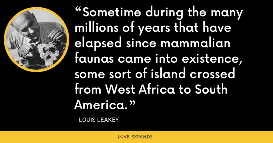 Sometime during the many millions of years that have elapsed since mammalian faunas came into existence, some sort of island crossed from West Africa to South America. - Louis Leakey