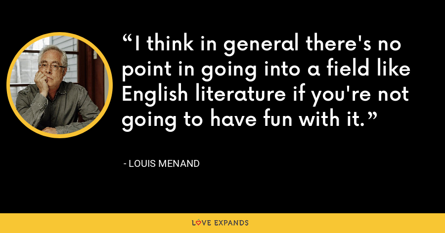 I think in general there's no point in going into a field like English literature if you're not going to have fun with it. - Louis Menand