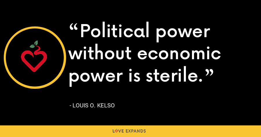 Political power without economic power is sterile. - Louis O. Kelso