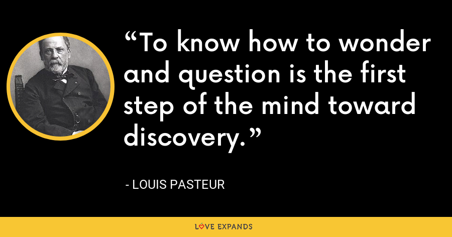 To know how to wonder and question is the first step of the mind toward discovery. - Louis Pasteur