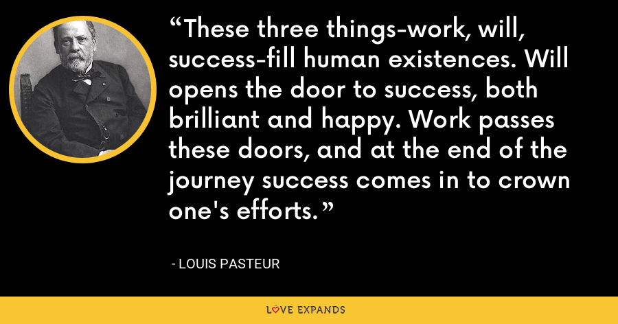 These three things-work, will, success-fill human existences. Will opens the door to success, both brilliant and happy. Work passes these doors, and at the end of the journey success comes in to crown one's efforts. - Louis Pasteur