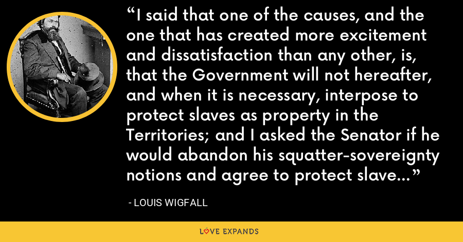 I said that one of the causes, and the one that has created more excitement and dissatisfaction than any other, is, that the Government will not hereafter, and when it is necessary, interpose to protect slaves as property in the Territories; and I asked the Senator if he would abandon his squatter-sovereignty notions and agree to protect slaves as all other property? - Louis Wigfall