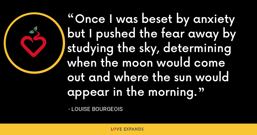 Once I was beset by anxiety but I pushed the fear away by studying the sky, determining when the moon would come out and where the sun would appear in the morning. - Louise Bourgeois