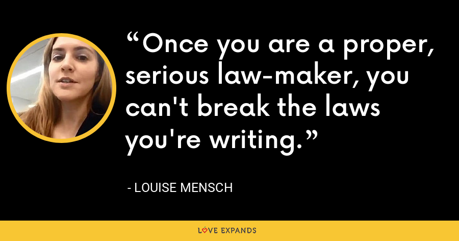 Once you are a proper, serious law-maker, you can't break the laws you're writing. - Louise Mensch
