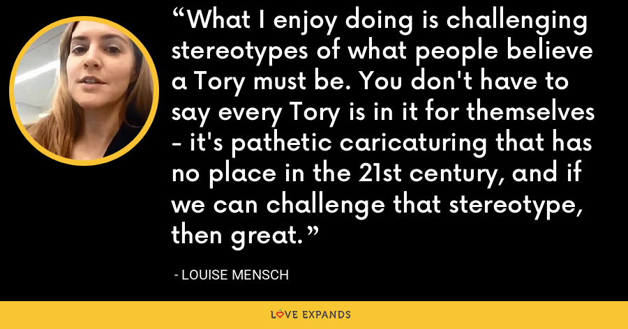 What I enjoy doing is challenging stereotypes of what people believe a Tory must be. You don't have to say every Tory is in it for themselves - it's pathetic caricaturing that has no place in the 21st century, and if we can challenge that stereotype, then great. - Louise Mensch