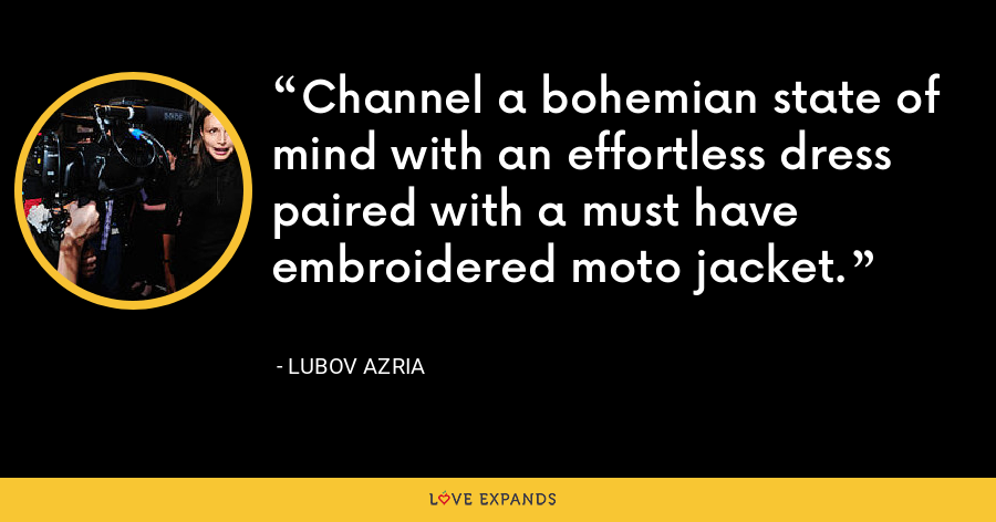 Channel a bohemian state of mind with an effortless dress paired with a must have embroidered moto jacket. - Lubov Azria