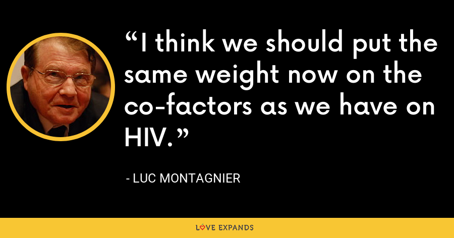 I think we should put the same weight now on the co-factors as we have on HIV. - Luc Montagnier