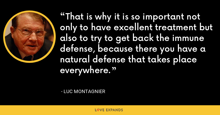 That is why it is so important not only to have excellent treatment but also to try to get back the immune defense, because there you have a natural defense that takes place everywhere. - Luc Montagnier