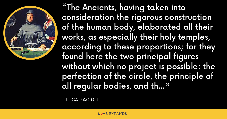 The Ancients, having taken into consideration the rigorous construction of the human body, elaborated all their works, as especially their holy temples, according to these proportions; for they found here the two principal figures without which no project is possible: the perfection of the circle, the principle of all regular bodies, and the equilateral square. - Luca Pacioli