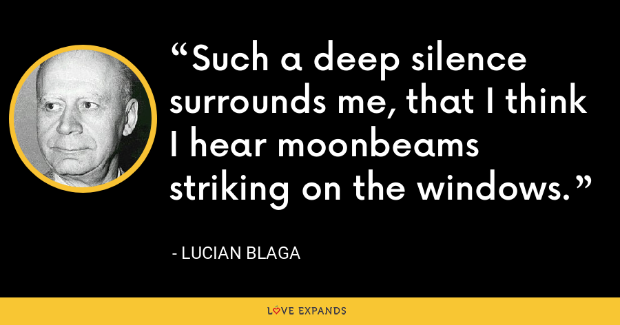 Such a deep silence surrounds me, that I think I hear moonbeams striking on the windows. - Lucian Blaga