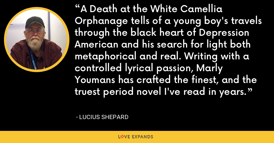 A Death at the White Camellia Orphanage tells of a young boy's travels through the black heart of Depression American and his search for light both metaphorical and real. Writing with a controlled lyrical passion, Marly Youmans has crafted the finest, and the truest period novel I've read in years. - Lucius Shepard