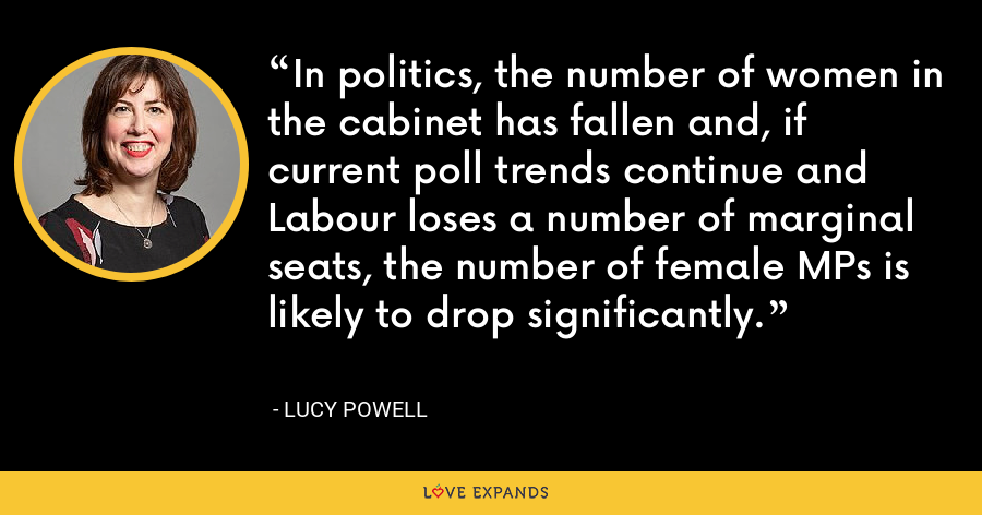 In politics, the number of women in the cabinet has fallen and, if current poll trends continue and Labour loses a number of marginal seats, the number of female MPs is likely to drop significantly. - Lucy Powell