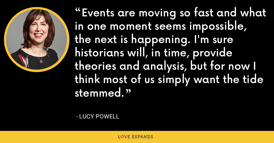 Events are moving so fast and what in one moment seems impossible, the next is happening. I'm sure historians will, in time, provide theories and analysis, but for now I think most of us simply want the tide stemmed. - Lucy Powell