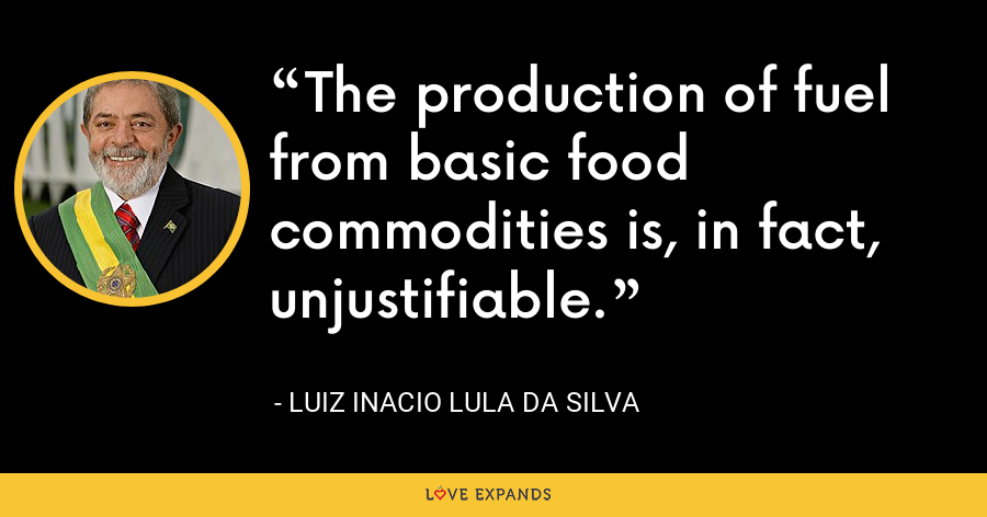 The production of fuel from basic food commodities is, in fact, unjustifiable. - Luiz Inacio Lula da Silva
