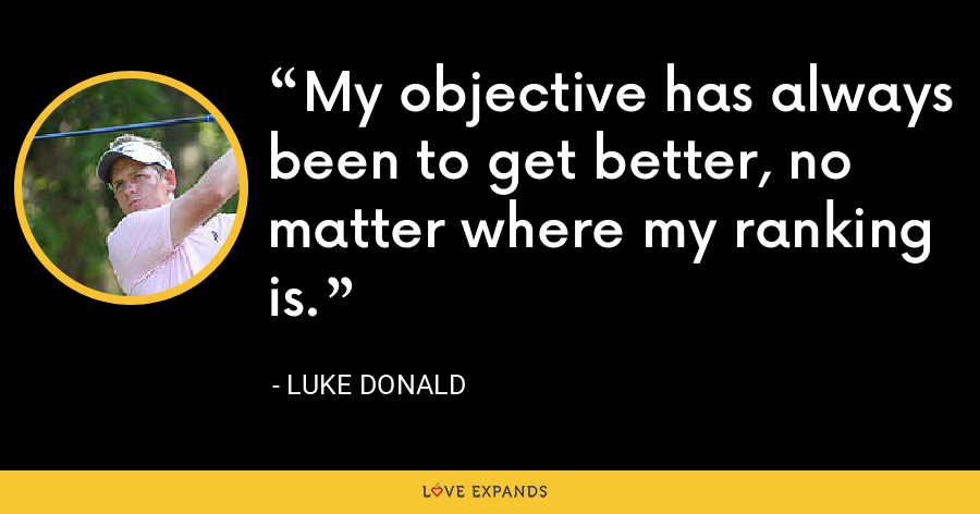My objective has always been to get better, no matter where my ranking is. - Luke Donald