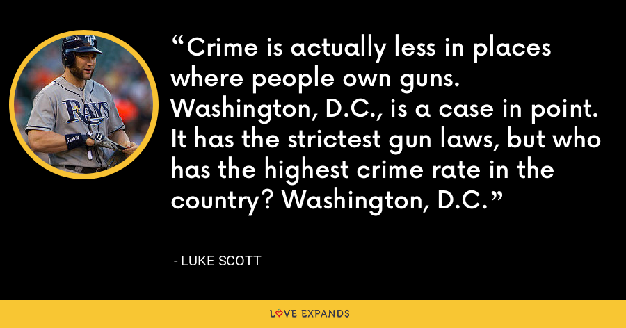 Crime is actually less in places where people own guns. Washington, D.C., is a case in point. It has the strictest gun laws, but who has the highest crime rate in the country? Washington, D.C. - Luke Scott