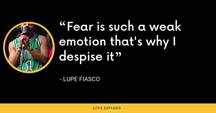 Fear is such a weak emotion that's why I despise it - Lupe Fiasco
