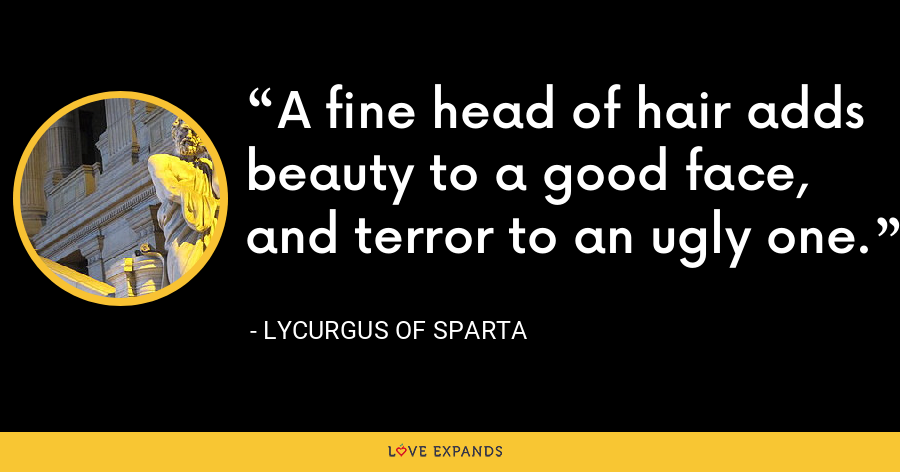 A fine head of hair adds beauty to a good face, and terror to an ugly one. - Lycurgus of Sparta