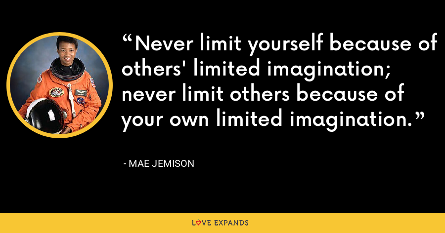Never limit yourself because of others' limited imagination; never limit others because of your own limited imagination. - Mae Jemison