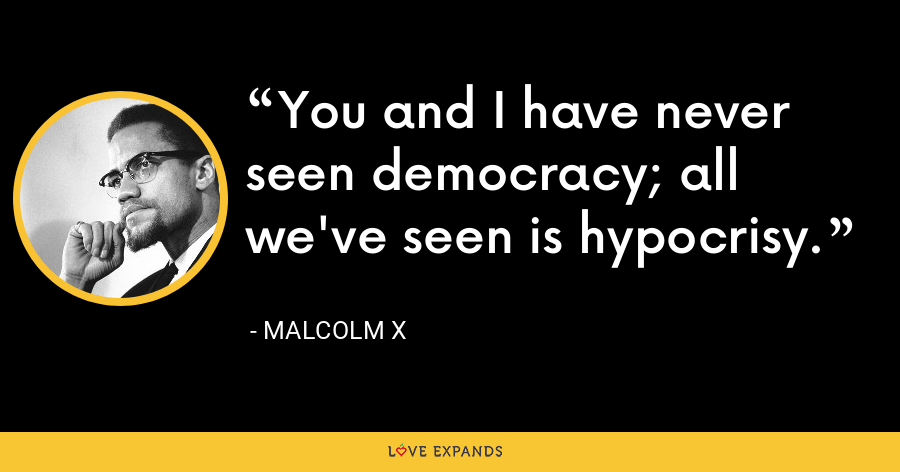 You and I have never seen democracy; all we've seen is hypocrisy. - Malcolm X
