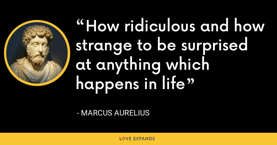 How ridiculous and how strange to be surprised at anything which happens in life - Marcus Aurelius