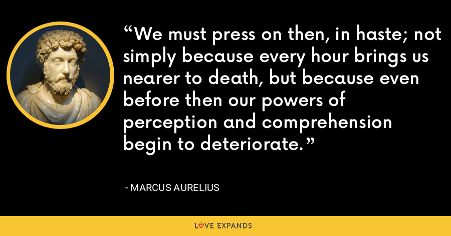 We must press on then, in haste; not simply because every hour brings us nearer to death, but because even before then our powers of perception and comprehension begin to deteriorate. - Marcus Aurelius
