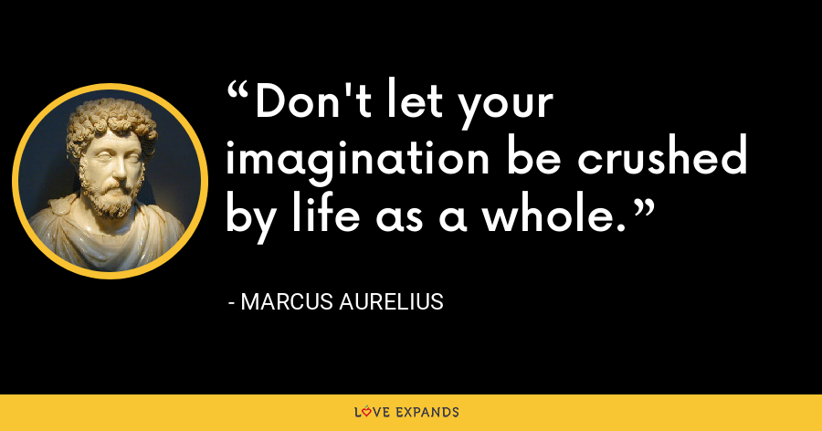 Don't let your imagination be crushed by life as a whole. - Marcus Aurelius
