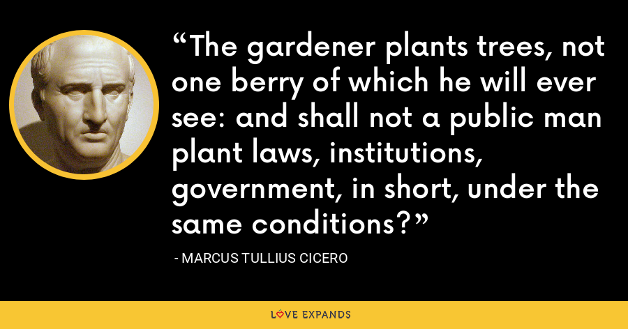 The gardener plants trees, not one berry of which he will ever see: and shall not a public man plant laws, institutions, government, in short, under the same conditions? - Marcus Tullius Cicero