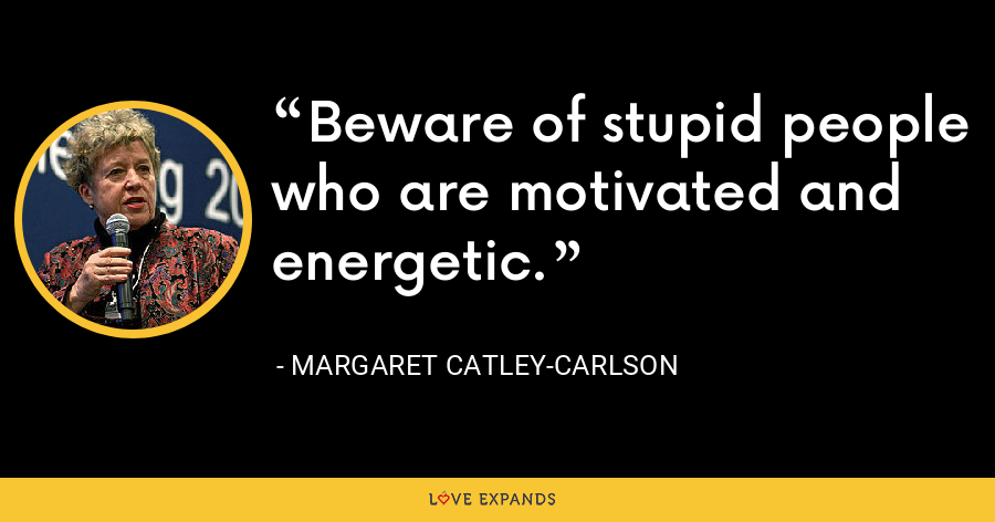 Beware of stupid people who are motivated and energetic. - Margaret Catley-Carlson