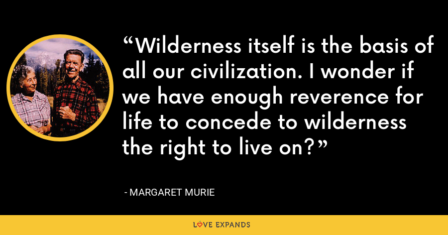 Wilderness itself is the basis of all our civilization. I wonder if we have enough reverence for life to concede to wilderness the right to live on? - Margaret Murie