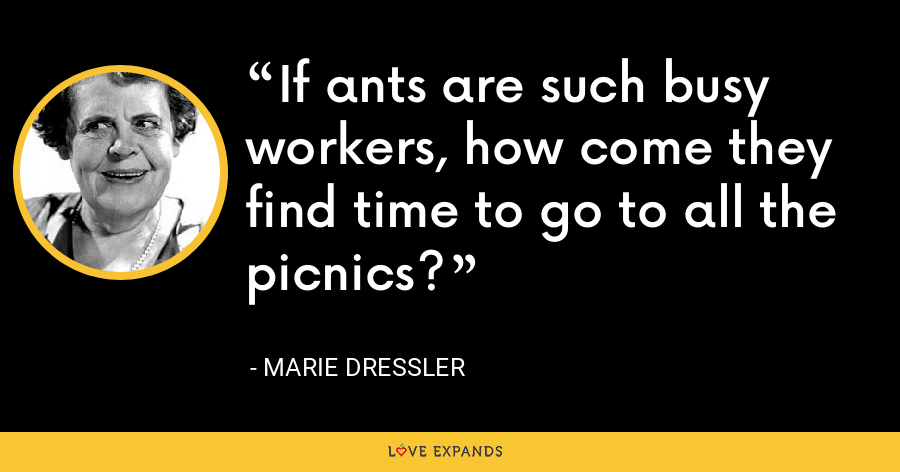 If ants are such busy workers, how come they find time to go to all the picnics? - Marie Dressler