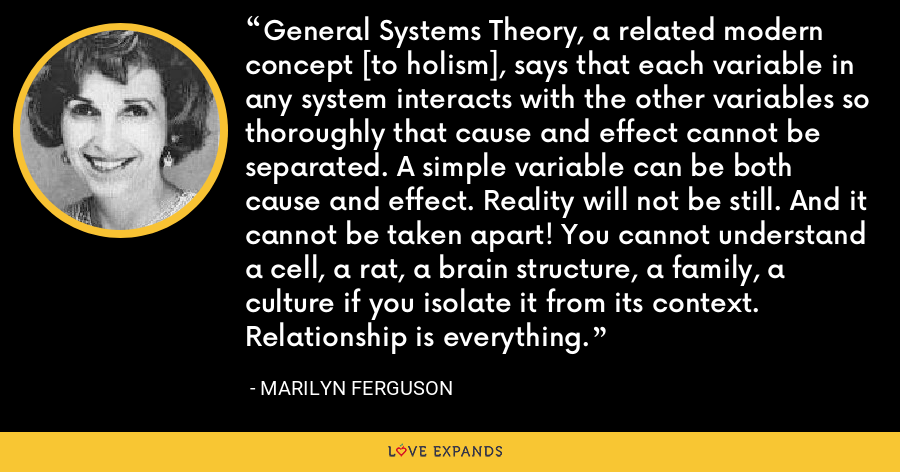 General Systems Theory, a related modern concept [to holism], says that each variable in any system interacts with the other variables so thoroughly that cause and effect cannot be separated. A simple variable can be both cause and effect. Reality will not be still. And it cannot be taken apart! You cannot understand a cell, a rat, a brain structure, a family, a culture if you isolate it from its context. Relationship is everything. - Marilyn Ferguson