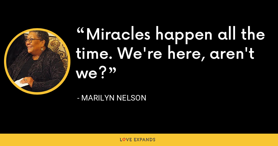 Miracles happen all the time. We're here, aren't we? - Marilyn Nelson