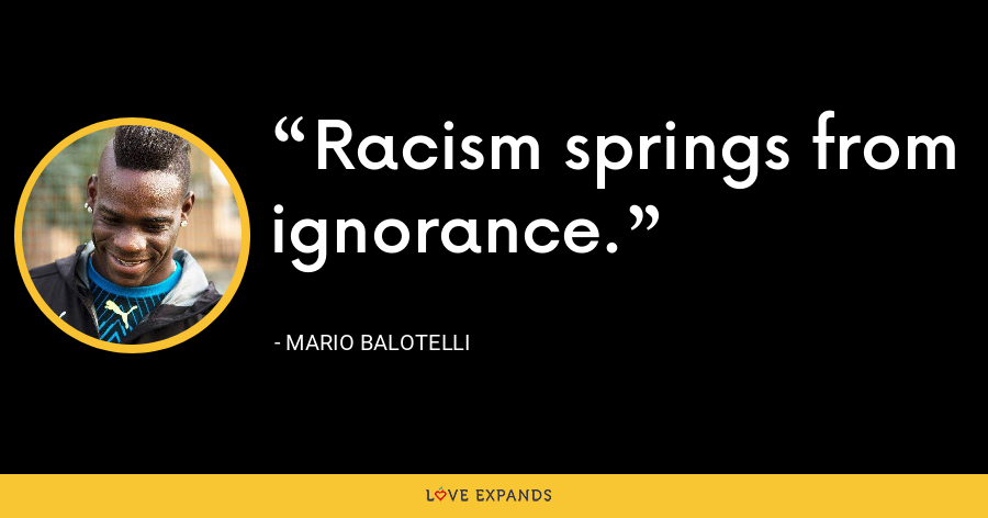 Racism springs from ignorance. - Mario Balotelli
