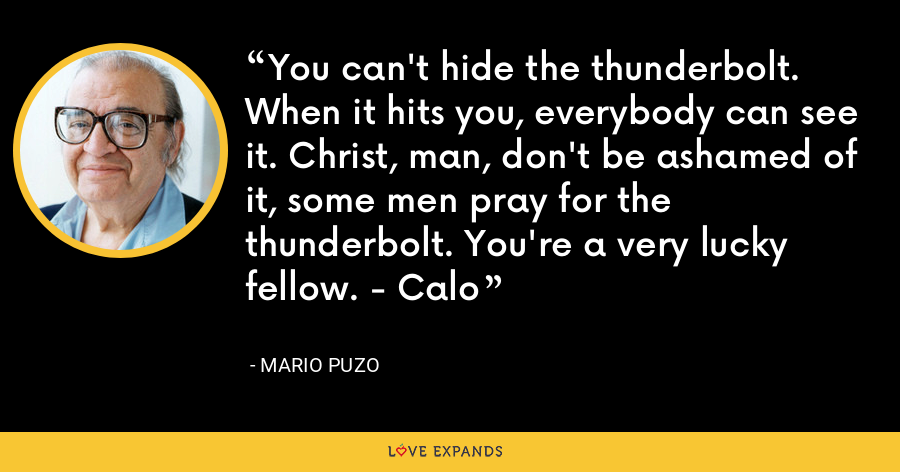 You can't hide the thunderbolt. When it hits you, everybody can see it. Christ, man, don't be ashamed of it, some men pray for the thunderbolt. You're a very lucky fellow. - Calo - Mario Puzo