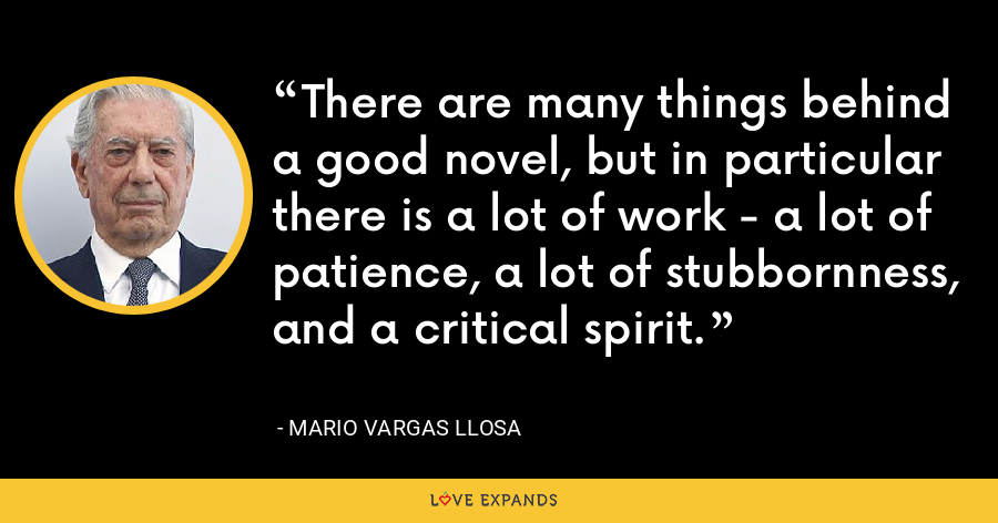 There are many things behind a good novel, but in particular there is a lot of work - a lot of patience, a lot of stubbornness, and a critical spirit. - Mario Vargas Llosa