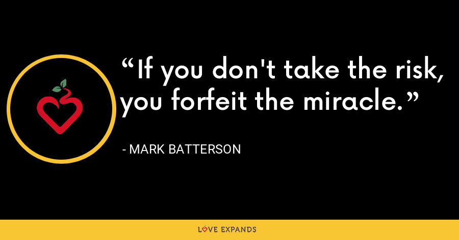 If you don't take the risk, you forfeit the miracle. - Mark Batterson