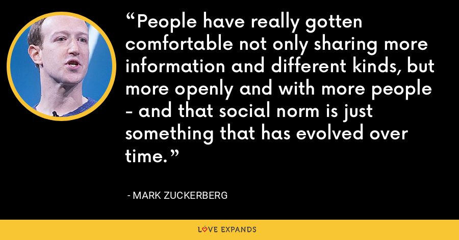People have really gotten comfortable not only sharing more information and different kinds, but more openly and with more people - and that social norm is just something that has evolved over time. - Mark Zuckerberg