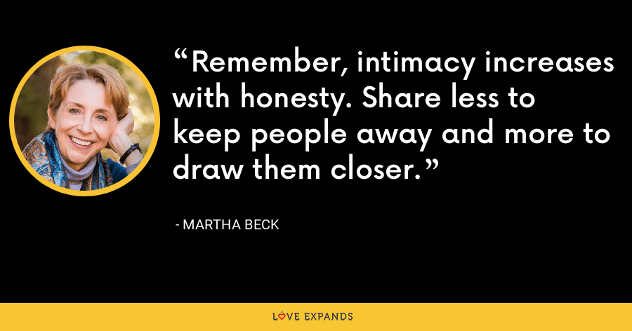 Remember, intimacy increases with honesty. Share less to keep people away and more to draw them closer. - Martha Beck