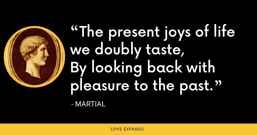 The present joys of life we doubly taste,By looking back with pleasure to the past. - Martial