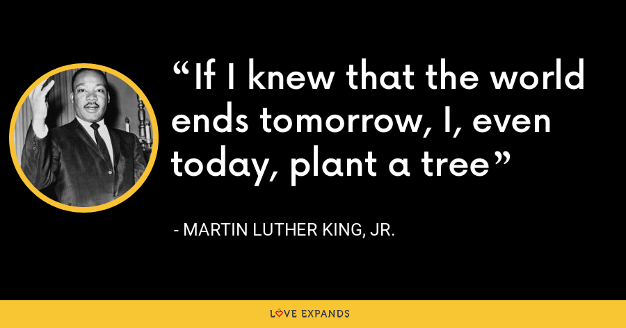 If I knew that the world ends tomorrow, I, even today, plant a tree - Martin Luther King, Jr.