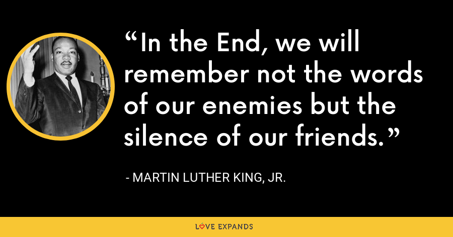 In the End, we will remember not the words of our enemies but the silence of our friends. - Martin Luther King, Jr.