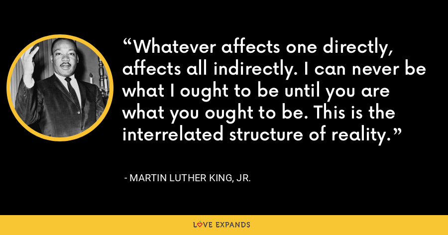 Whatever affects one directly, affects all indirectly. I can never be what I ought to be until you are what you ought to be. This is the interrelated structure of reality. - Martin Luther King, Jr.