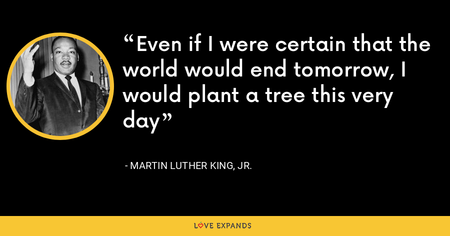 Even if I were certain that the world would end tomorrow, I would plant a tree this very day - Martin Luther King, Jr.