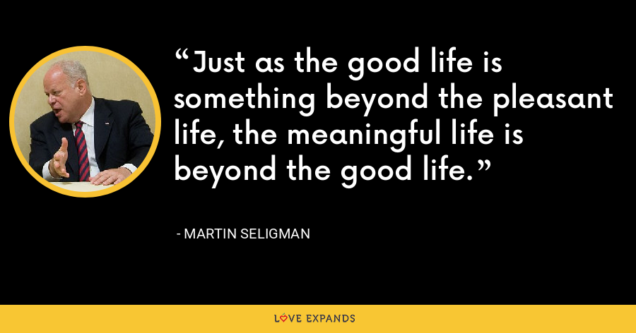 Just as the good life is something beyond the pleasant life, the meaningful life is beyond the good life. - Martin Seligman